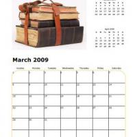 Printable Books March 2009 Calendar - Printable Monthly Calendars - Free Printable Calendars