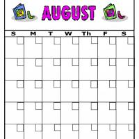 Printable Bookworms For August Blank Calendar - Printable Blank Calendars - Free Printable Calendars