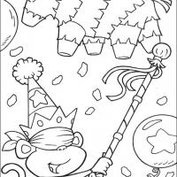 Printable Boots Knocking Down the Piñata - Printable Dora The Explorer - Free Printable Coloring Pages