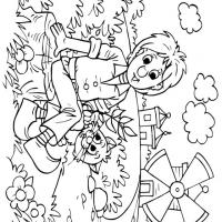 Printable Boy and Cat Relaxing in the Field Coloring Sheet - Printable Coloring Sheets - Free Printable Coloring Pages
