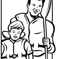 Printable Boy and Dad Fishing - Printable Coloring Sheets - Free Printable Coloring Pages