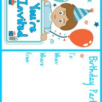 Printable Boy in Blue Birthday Party - Printable Birthday Invitation Cards - Free Printable Invitations