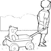 Printable Boy Pulling Wagon Toy - Printable Coloring Sheets - Free Printable Coloring Pages