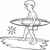 Printable Boy with Surf Board - Printable Coloring Sheets - Free Printable Coloring Pages