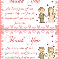 Printable Bride and Groom Thank You Card - Printable Thank You Cards - Free Printable Cards