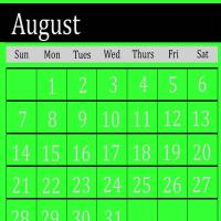 Bright Green August 2011 Calendar