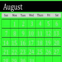 Bright Green August 2011 Calendar
