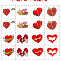 Printable Broken Hearts Memory Game - Printable Board Games - Free Printable Games