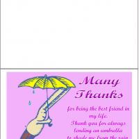 Printable Bunny Bear Under An Umbrella - Printable Thank You Cards - Free Printable Cards