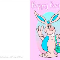 Printable Bunny Carrying Easter Cards - Printable Easter Cards - Free Printable Cards