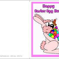 Printable Bunny Holding Colorful Easter Eggs - Printable Easter Cards - Free Printable Cards