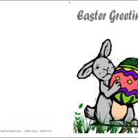 Printable Bunny With An Easter Egg - Printable Easter Cards - Free Printable Cards