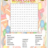 Printable Candy Word Search - Printable Word Search - Free Printable Games