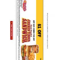 Carl's Jr. $1 Off Hand-Breaded Chicken Tender Sandwich Coupon