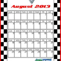Printable Cars2 Carla Veloso August 2013 Calendar - Printable Monthly Calendars - Free Printable Calendars