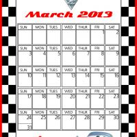 Printable Cars2 Finn McMissile March 2013 Calendar - Printable Monthly Calendars - Free Printable Calendars