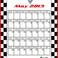Printable Cars2 Francesco Bernoulli May 2013 Calendar - Printable Monthly Calendars - Free Printable Calendars