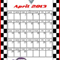 Printable Cars2 Holley Shiftwell April 2013 Calendar - Printable Monthly Calendars - Free Printable Calendars