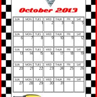 Printable Cars2 Jeff Gorvette October 2013 Calendar - Printable Monthly Calendars - Free Printable Calendars