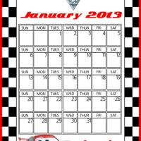 Printable Cars2 Lightning McQueen January 2013 Calendar - Printable Monthly Calendars - Free Printable Calendars
