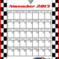 Printable Cars2 Max Schnell November 2013 Calendar - Printable Monthly Calendars - Free Printable Calendars