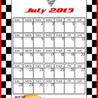 Printable Cars2 Miguel Camino July 2013 Calendar - Printable Monthly Calendars - Free Printable Calendars