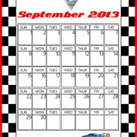 Printable Cars2 Raoul CaRoule September 2013 Calendar - Printable Monthly Calendars - Free Printable Calendars