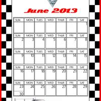 Cars2 Shu Todoroki June 2013 Calendar