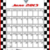 Cars2 Shu Todoroki June 2013 Calendar