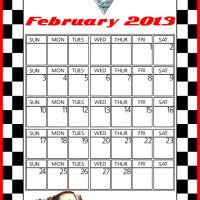 Printable Cars2 Tow Mater February 2013 Calendar - Printable Monthly Calendars - Free Printable Calendars