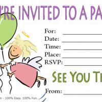Printable Cartoon Angel Birthday Party Invitation - Printable Birthday Invitation Cards - Free Printable Invitations