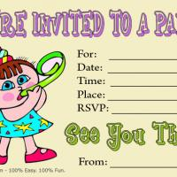 Cartoon Baby Birthday Party Invitation