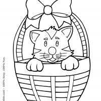 Printable Cat in the Basket - Printable Coloring Sheets - Free Printable Coloring Pages
