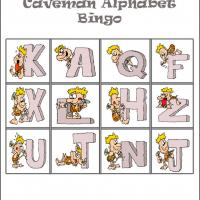 Caveman Alphabet Bingo Card 3