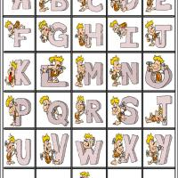 Caveman Alphabet Bingo Tiles