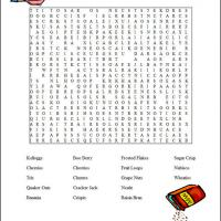 Printable Cereal Word Search - Printable Word Search - Free Printable Games