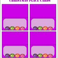 Printable Christmas Ball Violet Place Cards - Printable Place Cards - Free Printable Cards