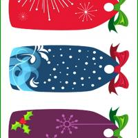 Printable Christmas Gift Tags with Bow Set 1 - Printable Gift Cards - Free Printable Cards