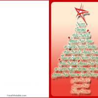 Printable Christmas Greetings Tree - Printable Christmas Cards - Free Printable Cards