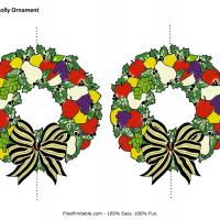 Printable Christmas Holly Ornament - Paper Crafts - Free Printable Crafts