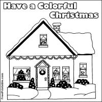 Printable Christmas House - Printable Coloring Sheets - Free Printable Coloring Pages