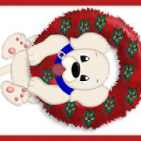 Printable Christmas Puppy with Wreath - Printable Bookmarks - Free Printable Crafts