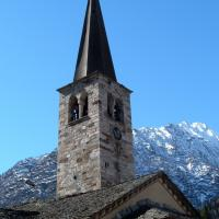 Church Tower With Mountain Background