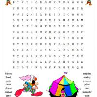 Printable Circus Word Search - Printable Word Search - Free Printable Games