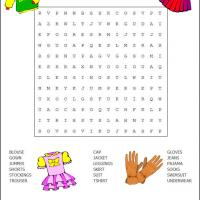 Printable Clothes Word Search - Printable Word Search - Free Printable Games