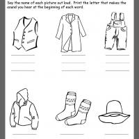 Printable Clothing Beginning Consonants Review - Printable Kindergarten Worksheets and Lessons - Free Printable Worksheets