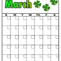 Clovers For March Blank Calendar