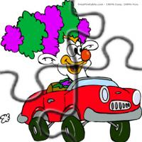 Printable Clown In A Car - Printable Puzzles - Free Printable Games