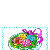 Printable Colored Easter Eggs With Ribbons - Printable Easter Cards - Free Printable Cards