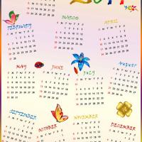 Printable Colorful 2011 Calendar - Printable Yearly Calendar - Free Printable Calendars